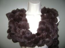 "Genuine Rabbit Fur Scarf Scarves Brown Pom Pom Ball 61"" Length"