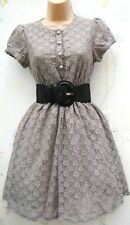 SIZE 12 50s STYLE GREY LACE FIT & FLARE SKATER SUMMER DRESS LINED # US 8 EU 40