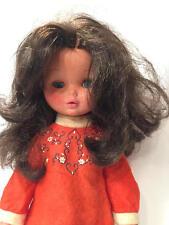 "Vintage Furga 17"" Vinyl Doll with Original Dress Brunette, Blue Eyes Italy NICE"