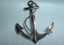 VINTAGE GOLDTONE NAUTICAL ANCHOR ROPE BROOCH PIN IN GIFT BOX