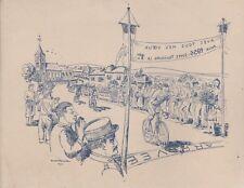 """""""COURSE CYCLISTE 1956"""" Gravure originale André RAMEAU 22x17cm"""
