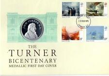 1975 SILVER PROOF COIN MEDAL COVER + COA THE TURNER BICENTENARY BY J PINCHES