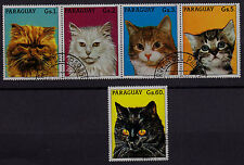 PARAGUAY  SCOTT# 2201-2202 USED  (2201 STRIP/4  & 2202 SINGLE) CATS & KITTENS