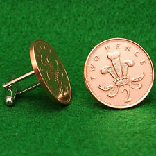 British Coin Cufflinks, Prince of Wales Badge, 2 Pence UK England