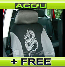 noir gris Dragon Logo treillis tissu style Housses de siège auto Set +
