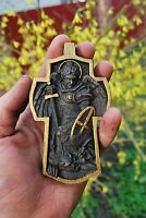 """4"""" Pectoral Cross Archangel Michael Wood carvings wood gifts personalized gifts"""