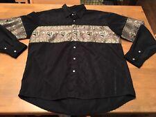 El Norteno Men's SZ XL Pearl Snap Rodeo Western Shirt Black/Gold EUC