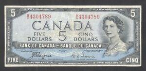 1954 DEVIL'S FACE $5.00 BC-31a aVF * SCARCE 1st Type Canada QEII DF Five Dollars