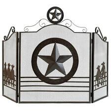 New Lone Star Fireplace Screen Texas Rustic Western Panel Decor Cowboy Mesh Iron