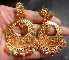 Antique Gold Plated Indian Chand Bali Jhumka Dangler Multi Bead Wedding Earrings