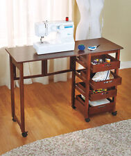NEW Rolling Portable Office Workstation Sewing Table Store Fold Away Desk WALNUT