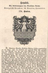"Heraldik-Städtewappen ""Emden"" Provinz Hannover Orig.Holzstich v.1876"