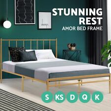 Metal Bed Frame Queen Double King Single Full Size Steel Mattress Base Amor