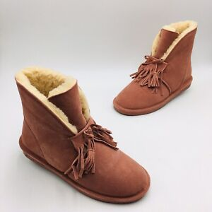 BEARPAW Christie Suede Sheepskin Fringe Boot with NeverWet Size 11M Dusty Rose