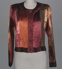 VTG Jeanne Marc Semi-Sheer Stripes Shimmery Brown Gold Lghtwgt Jacket Wms M - L