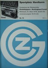 Programm EC 1978/79 Grasshoppers Zürich - Nottingham Forest