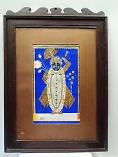ANTIQUE MINIATURE PAINTING OF LORD KRISHNA/SHREENATHJI WATER COLOR COLLECTIBLE 1