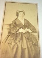 Antique Victorian American Civil War Fashion Old Woman! NYC New York CDV Photo!