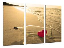 Cuadro Moderno Paisaje Mensaje en una Botella de Amor, Corazon Rojo, ref. 26478