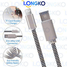 LONGKO Lightning Cable Micro SD/TF Card Reader Charging for iPhone iPad MacBook