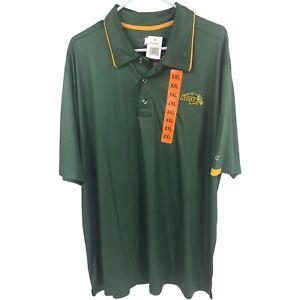Champion NDSU Bison Polo Shirt Mens 2XL XXL Green Adult Short Sleeve NEW