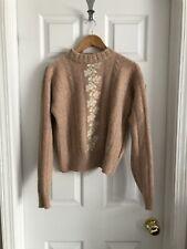 Vintage Liz Claiborne Blush Pink Angora Wool Sweater, Cable Knit, Size Medium
