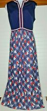 Vintage 1960s/70s Red White and Blue Sleeveless Maxi Dress ~ Retro Size Lg