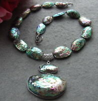 34x55MM natural Paua Abalone Shell  Necklace