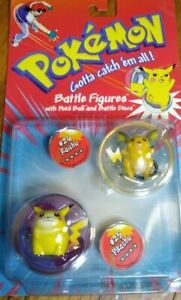 Vintage 1998 Pokemon Battle Figures Raichu Pikachu NIP Battle Discs Poke Ball