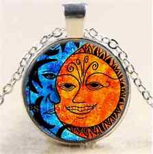 Sun and Moon Face Cabochon Glass Tibet Silver Chain Pendant Necklace