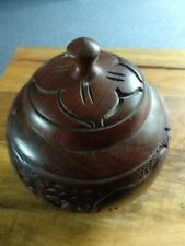 Decorative carved wooden bowl with lid. Bought in Africa. 6 x 6 ins