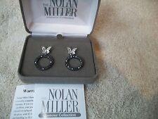 Silvertone Dangle ClipOn Austrian Crystal Nolan Miller Earrings Dainty Butterfly