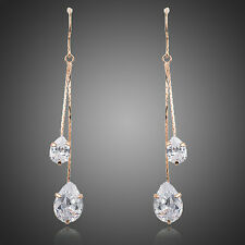 New Sparkle Shiny Clear White Zircon Drop Dangle Party Rose Gold Plated Earrings