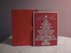 Carol's Rose Garden - Christmas Card - A White Christmas Tree on red background