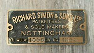Bronze Plaque Richard Simon & Sons Ltd Patentees & Sole Makers Nottingham
