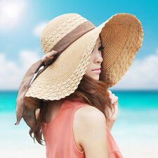 US Vintage Womens Wide Brimmed Floppy Summer Beach Sun Hat Bowknot Straw Hat Cap