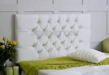 CHESTERFIELD **WHITE FAUX LEATHER** DIAMANTE HEADBOARD CHOOSE YOUR SIZE FREE P/P