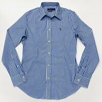 Ralph Lauren Women's KENDALL Slim Fit Stretch Poplin Shirt In Blue/White Striped