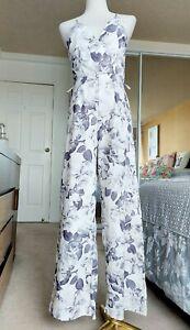 MIKA & GALA sleeveless jumpsuit white grey floral wrap straps pants zip size 8