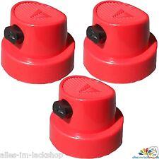 3 Sprühköpfe Sprühkopf mit Breitstrahldüse für Sprühdose Spraydose FAT CAP rot