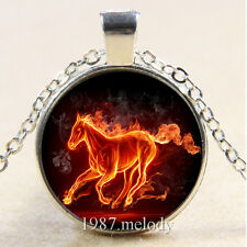 New Cabochon Glass Silver/Bronze/Black Pendant Necklace Running fire horse