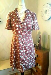 PRIMARK Terracotta & White floral A Line Dress With Button Front [14] NEW