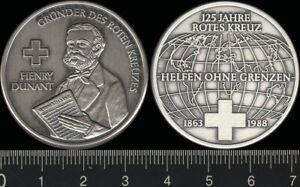 Germany: 1988 125 Yrs German Red Cross Founder Henry Dunant 999 silver medal 15g