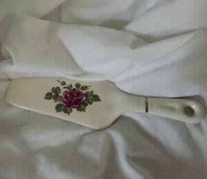 Wedding Pink Rose Flower Design Porcelain Pie Cake Server Cutter Slicer