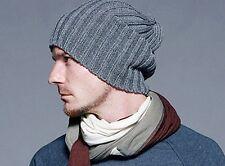 Winter - Grey Mens Hip-Hop Wool Knit Ski Slouchy Cap/Hat/Beanie
