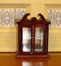 "Bespaq Mahogany ""Glass"" Front Two-Door Cabinet - Dollhouse Miniature"