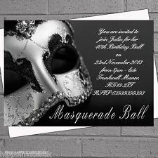 Black Silver Masquerade Masked Ball Birthday Party Invitations x 12 + envs H0016