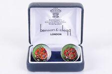 $160 Benson & Cleqq London Metal Cufflinks Floral Flowers Men's OS