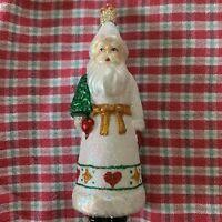 "Old World Christmas White Coat ""Pennsylvania Dutch Santa""  Ornament-GLASS OWC"