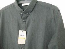 Pure DKNY Nuovo Grigio Scuro Smart Camicia Rrp £ 140 Lavoro Formale piccole etichette BUTTON-DOWN